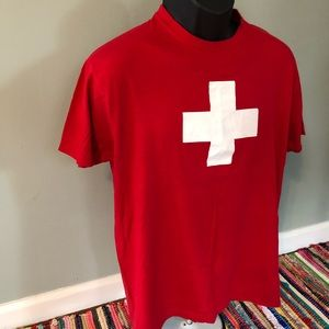 Vintage Shirts - Swiss Cross Flag Shirt Switzerland Army Knife Tee